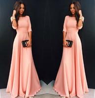 ingrosso bei vestiti da partito rosa-Maxi Long Dress Inverno Autunno Sera Abiti da festa Piano Lunghezza Moda Sexy Bella Pink Dress Solid Seven Sleeves