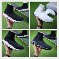 orta rahat ayakkabılar toptan satış-Ücretsiz Kargo Orijinal kalite + 2018 sıcak Hız streç-örme Orta sneakers kadın erkek Rahat ayakkabı ayakkabı Hız eğitim örgü Orta siyah