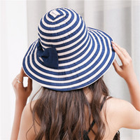 fe4c9115bb3 Striped Women Foldable Large Brim Crochet Summer West Cowboy Sun Hat UV Beach  caps gorra mujer sunhat for girls. Supplier  melontwo
