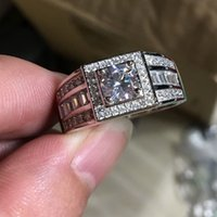 Wholesale Male Sterling Silver Wedding Ring - 100% Real Soild 925 Sterling silver male Ring 1ct Diamonique 5A Zircon Cz Engagement wedding band ring for Men Fine Jewelry