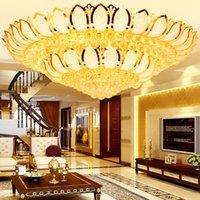 led lotus kristal lamba toptan satış-Altın Lotus kristal lamba oturma odası yatak odası cornucopia led yuvarlak uzaktan kumanda ile tavan lambası avize ışık aydınlatma
