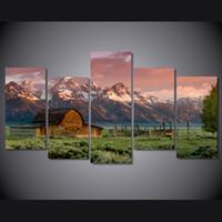 pinturas de montaña al por mayor-5 Unids / set granero teton montañas rocosas HD Impreso Wall Art Pictures Lienzo Pinturas Para la Sala de estar Decoración Para El Hogar