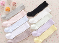 Wholesale jacquard knitted legging - Kids cotton stockings 2018 new children knee high knitting stockings girls lace jacquard ruffle princess socks spring baby legs R1704