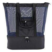 piknik için soğutucu çantası toptan satış-Hasır Plaj Tote Çanta Fermuar Üst ve Yalıtımlı Piknik Soğutucu Plaj Piknik için Su Geçirmez Kılıfı Büyük Soğutucu Çanta İşlevli Çanta