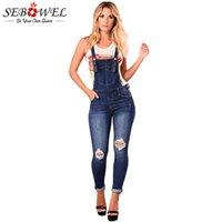macacão jeans venda por atacado-Jeans Mulher Plus Size Azul Escuro Denim Rasgado Buracos Macacões Meninas Denim Suspensórios Calças Macacão de Algodão Feminino Skinny Jeans