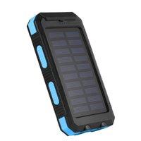 Wholesale External Battery Mp3 - 30000mAh Dual USB Waterproof Solar Power Bank External Battery Charger Black+Blue ZA482204
