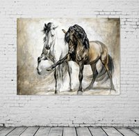 Wholesale original digital art online - UNFRAMED Retro nostalgia brown horse horse dance original living room VINTAGE home decor Modern animal oil painting on canvas wall art paint