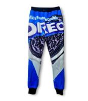 3d çerezler toptan satış-Günlük Pantolon Erkek Kadın Spor Pantolon Harajuku Sütlerin Çerezler Oreo 3D Baskı Ter Harem Pantalones Hip Hop Koşucular Sweatpants AMS023