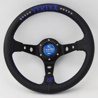 Wholesale Car Performance Tuning - Cheap Blue Vertex 320mm Leather Steering Wheel Deep Dish Car Racing Performance Tuning Sports Steering Wheel Universal
