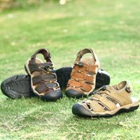Wholesale sports man sandals for sale - Group buy Men Leather Beach Sandals Air Breathable Leisure Antiskid Head Layer Cowhide Beach Shoes Sports Outdoor Shoes Pair OOA4941