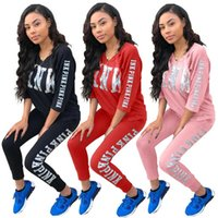 Wholesale Half Run - Pink Women Sportswear Suit Running Pullover fashion tracksuit Letter Print half sleeve Tops Coats Pants Casual Tracksuit EEA36