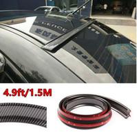 innenraum bestellen großhandel-4.9ft / 1.5M flexibles Auto-hinteres Dach-Lippenspoiler-Lippenflügel-Ordnungs-Aufkleber-Kohlefaser