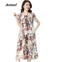 длинные платья из хлопка летние оптовых-Anteef cotton linen vintage floral print women casual loose long summer dress vestidos femininos 2018 dresses