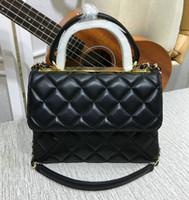 Wholesale trendy yellow handbags - 13 Colors Women's Genuine Leather Chain Shoulder Bag Flap Handbag Brand Fashion Trendy Hand Bag