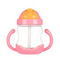 Wholesale Branded Drink Bottles - Brand Kids Silicone Sippy Cups Baby Training Feeding Bottle with Straw Students Drink Water Cup Baby Bottle