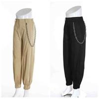 taschenstiefel großhandel-Hohe Taillen-Jogger-Hosen mit Aufladungs-Frauen-Fracht-Hosen mit Tasche und Kette neue Mode 2018