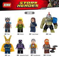 Wholesale Loki Figure - 120pcs Mix Lot Super Heroes Minifig Thor Amora Hulk Loki Grandmaster Volstagg Jane Figure XINH X0165 Mini Building Blocks Figures