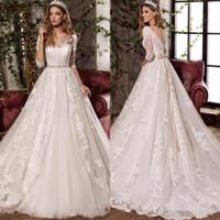 Wholesale sexy wedding dresses bows for sale - Group buy 2019 Sexy V Neck Bow Princess Wedding Dresses Modest Appliques Vestido De Noiva Half Sleeves Plus Size Bridal Gowns BA4333