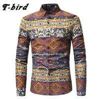 Wholesale bird shirt mens - T-bird 2018 New Men Shirt Printing Plaid Shirt Long Sleeves Dress Casual Mens Camisa Masculina Brand Fashion Male Clothing