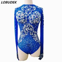 mavi gömlek kostümleri toptan satış-Kadın Tulum Bodysuit seksi kostüm Parlak Kristaller mavi rhinestones şarkıcı dansçı gece kulübü Stag Parti Kıyafet için Leotard