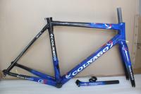mavi bisiklet çerçeveleri toptan satış-Ücretsiz kargo karbon çerçeve karbon bisiklet frameset yol bisikleti Çerçeve bisiklet Mavi parlak framset yüksek kalite