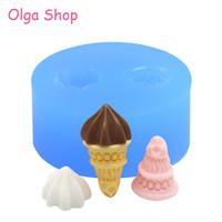 ingrosso muffa a cono-XYL061 One Set 1Pc Stampo Stampo in silicone flessibile Stampo in silicone - Icrecream Cone and Cream