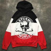 marcas de vestuário japão venda por atacado-Marca de moda roupas mens hoodies designer mastermind japão mmj esqueleto humano carta 3 cor patchwork ponto pullover camisola
