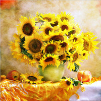 Wholesale canvas painting vases - 5D DIY Diamond Embroidery Painting Diamonds Mosaic Flower Sunflower Vase Full Rhinestone Cross Stitch Picture Wall Poster Home Decor