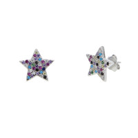 Wholesale mixed colorful earrings for sale - Group buy 100 sterling silver jewelry lovely cz star stud rainbow color mix colorful cz stone star earring for Christmas gift