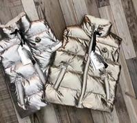 ingrosso maglia bambino bianco-Nuovo gilet in piuma d'oca bianca con cerniera lunga per bambini e bambine in argento per bambini