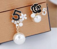 jewlery ohrringe großhandel-2018wholesale Perle Nummer 5 lange baumeln Kette berühmte Marke Designer Luxus Schmuck Jewlery Brincos Orecchini Ohrringe für WomenV001