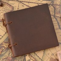 Wholesale hard cover journals resale online - Handmade Genuine Leather NotRustic Diary Journal Crazy Horse Leather Cover Environmental Paper Vintage Memo Notepad