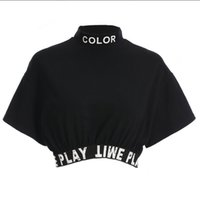 Wholesale personalized printed ribbons - Summer fashion loose bottoming shirt women's tops, personalized letter printed ribbon elastic tight T-shirt for women.