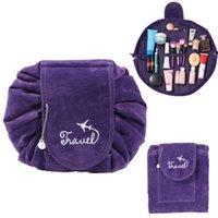 koreanische make-up-tasche großhandel-Neue Plüsch Faule Make-Up Taschen Kordelzug Koreanische Kosmetik Aufbewahrungstasche Reise Shrink Kosmetiktasche Magische Reisetasche