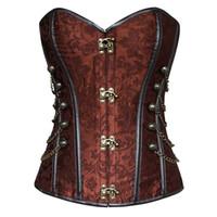 corset punk sexy achat en gros de-Corset désossé désossé en acier avec chaîne en chaîne Steampunk Gothique Punk en similicuir pour femmes