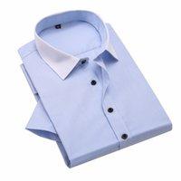 camisa do negócio do ferro venda por atacado-Mens Non-Iron Slim Fit Manga Curta Spread Collar Camisa de Vestido de Negócios Camisa Fit Formal Vestido B06