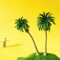 ingrosso bonsai trees-12 pezzi / alberi di cocco artificiali / miniature / piante carine / giardino delle fate / muschio terrario arredamento / artigianato / bonsai / fai da te