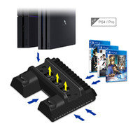 Wholesale ps4 sale resale online - hot sale Vertical Stand for Sony PS4 Pro Slim Dual Controller Charging Station Dock Cooling Fan with Game Storage Slots