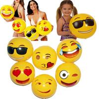jouets amusants pour adultes achat en gros de-30 CM PVC Plage Balle Partie Jouets Emoji Expression Visage Gonflable Boule Adulte Enfants Sable Jouer L'eau Amusement Jouets Parti Fournitures WX-T103