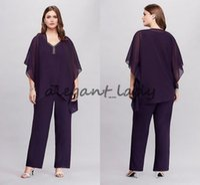 vestes asymétriques achat en gros de-Purple Three Pieces Flowy Plus Size Pantalon-Veste avec Veste Asymétrique 2018 Custom Make Mère de la Mariée Mariée Pantalon Tailleur Robe