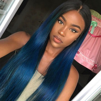Wholesale Wig Light Blue Long - blue Human Hair Wigs With Baby Hair Natural Hairline Ombre Full Lace Wig   Lace Front Wigs For Black Women With Baby Hair