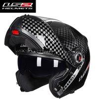 12k углеродное волокно оптовых-Оригинальный LS2 FF394 откидной мотоциклетный шлем 12K углеродного волокна для взрослых модульный анфас шлем с внутренними солнцезащитными шлемами