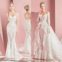 Wholesale line wedding dresses sleeves sweetheart neckline online - 2017 Gorgeous Zuhair Murad Full Lace Overskirts Wedding Dresses Long Sleeves Sweetheart Neckline Applique Bridal Gowns with Detachable Train