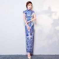 vestido de casamento qipao branco venda por atacado-Azul Branco Porcelana Cetim Cheongsam Chinês Tradicional Vestido de Casamento Das Mulheres Retro Festa À Noite Qipao Oriental Vestidos de Dragão