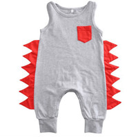 Wholesale snap boy - Baby Boy Dinosaur Romper Summer Sleeveless Jumpsuits with Pocket Snaps Cotton Infant Newborn Toddler Baby Clothes 0-24M