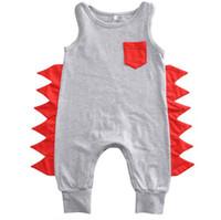 dinosaurier kleinkind großhandel-Baby Boy Dinosaurier Strampler Sommer Sleeveless Overalls mit Tasche Snaps Baumwolle Säuglings Neugeborenes Kleinkind Baby Kleidung 0-24 Mt