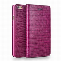 Wholesale iphone crocodile leather - Crocodile pattern lady handmade flip leather case for iPhone 6 6S plus HOT PINK Cover 4.7 5.5 inch