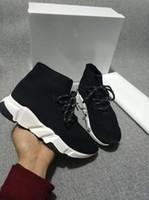 siyah gerdirme ayakkabıları toptan satış-Lüks Çorap Ayakkabı Hız Eğitmenler Streç Dokulu KNIT Siyah Rahat Ayakkabı Hız Trainer Sneakers Hız Eğitmen Çorap Yarış Koşucular Toptan