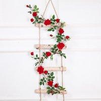 pflanze girlande großhandel-Real touch Künstliche Gefälschte Seide Rose Blume Gefälschte Hängende Dekorative Rosen Reben Pflanzen Blätter Künstliche Garland Blumen Hochzeit Wand-dekor