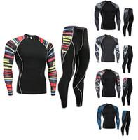 Wholesale panel settings for sale - T shirt Compression Men muscle shirt rashgarda mma long sleeves fitness Men s tracksuit clothing brand t shirt leggings set